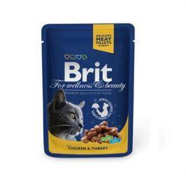 Влажный корм Brit Premium курица и индейка пауч для кошек (100 гр)