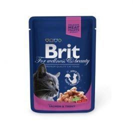 Влажный корм Brit Premium лосось и форель пауч для кошек (100 гр)