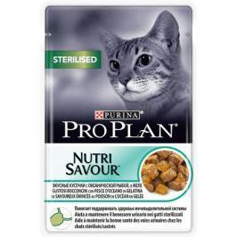 Влажный корм Pro Plan Nutri Savour Sterilised океаническая рыба для кошек, 85г