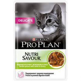 Влажный корм Pro Plan Nutri Savour Delicate для кошек с чувствительным пищеварением, ягненок в соусе, 85гр
