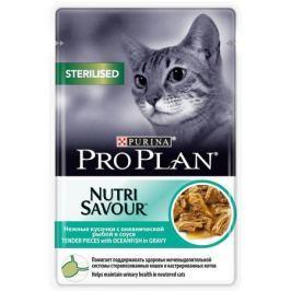 Влажный корм Pro Plan Nutri Savour Sterilised океаническая рыба в соусе для кошек, 85г