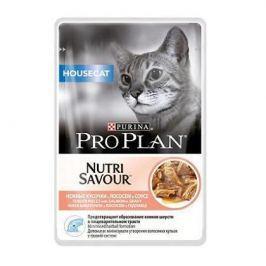 Влажный корм Pro Plan Nutri Savour Housecat для кошек, лосось в соусе, 85 г.