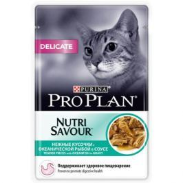 Влажный корм Pro Plan Nutri Savour Delicate для кошек, океаническая рыба в соусе, 85г.