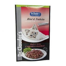 Влажный корм Dr.Clauder's мясо+индейка для кошек (100гр)