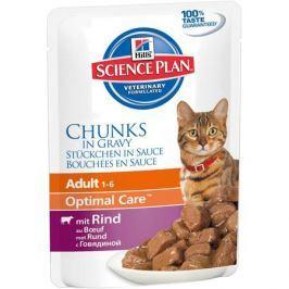 Влажный корм Hill's Science Plan Optimal Care для кошек от 1 до 6 лет  с говядиной, 85 г.