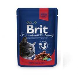 Влажный корм Brit Premium говядина и горошек пауч для кошек (100 гр)