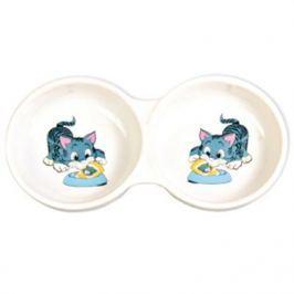Миска Trixie керамическая с рисунком кошки d=11см 150мл двойная