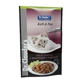 Влажный корм Dr.Clauder's телятина+индейка для кошек (100гр)