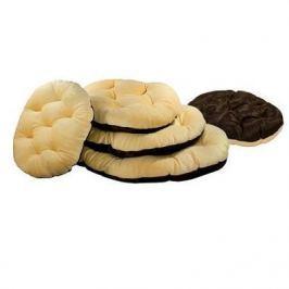 Лежанка Zoo-M Перина PLUSHka (50*40*8) бежево коричневый мех+сатин+синтепух для кошек и собак