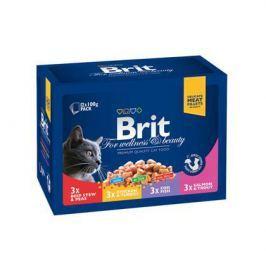 Влажный корм Brit Premium Семейная тарелка набор паучей для кошек, 12*100г.