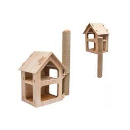 Паркур ZooM настенный домик большой с когтеточкой 46х33.5х65.8см, дуб