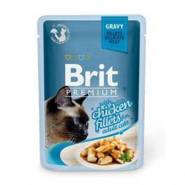 Влажный корм Brit Premium Кусочки из куриного филе в соусе для кошек, 85г.