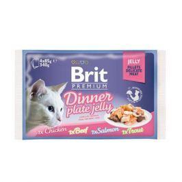 Влажный корм Brit Premium Кусочки в желе набор паучей для кошек,  4шт.*85г.