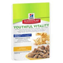 Влажный корм Hill's Science Plan Youthful Vitality аппетитные кусочки в соусе для кошек старше 7 лет курица, 85г.