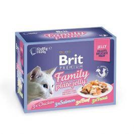 Влажный корм Brit Premium Семейная тарелка кусочки в желе набор паучей для кошек, 12шт * 85г.