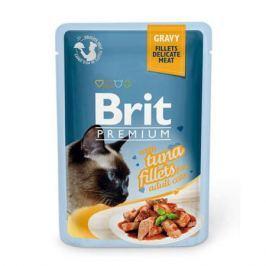 Влажный корм Brit Premium Кусочки из филе тунца в соусе для кошек, 85г.