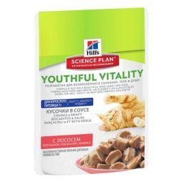 Влажный корм Hill's Science Plan Youthful Vitality аппетитные кусочки в соусе для кошек старше 7 лет с лососем, 85г.