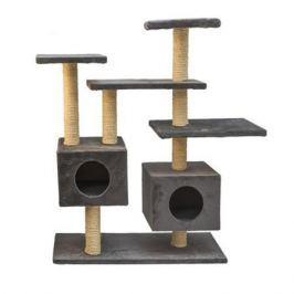 Комплекс Дарэлл СМАРТ многоуровневый с двумя квадратными домиками, сизаль, мех Plush 87х30.5хh95см