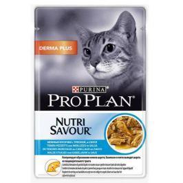 Влажный корм Pro Plan Nutri Savour Derma Plus в соусе для кошек для выведение комочков шерсти, 85г