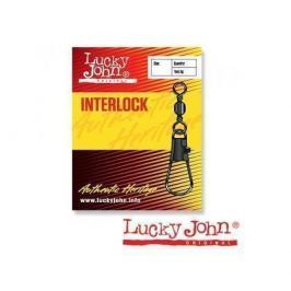 Вертлюги Lucky John c застежкой BARREL AND INTERLOCK Black 020 10шт.