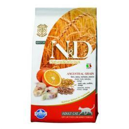 Сухой корм Farmina N&D Cat низкозерновой для кошек, с треской и апельсином, 1.5кг