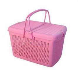 Переноска Triol пластиковая квадратная (38*24*22) малая розовая для кошки