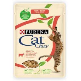 Влажный корм Cat Chow Adult говядина + баклажаны в желе для кошек, 85г.