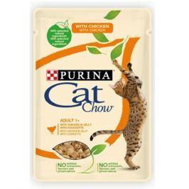 Влажный корм Cat Chow Adult курица + кабачки в желе для кошек, 85г.