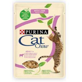 Влажный корм Cat Chow Adult ягненок + зеленая фасоль в желе для кошек, 85г.