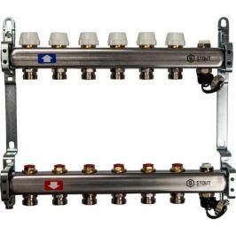 Stout Коллектор из нержавеющей стали без расходомеров, с клапаном вып. воздуха и сливом 6 вых.
