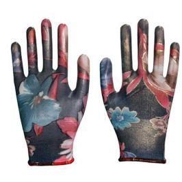 Перчатки нейлон. садовые, облитые прозрачным нитрилом, мультицвет р.8 (3008)
