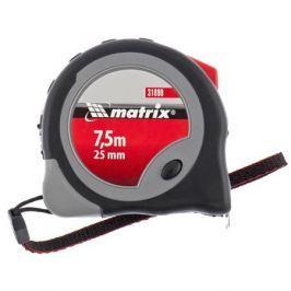 Рулетка MATRIX 31090 7.5м*25мм карманная, обрезиненный корпус плавная фиксация