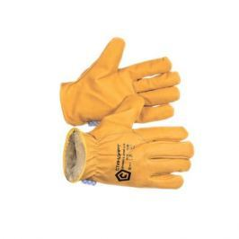 Перчатки из спилка желтого утепленные