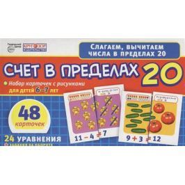 Счет в пределах 20. Набор карточек с рисунками для детей 6-7 лет. 48 карточек. 24 уравнения + задания на обороте
