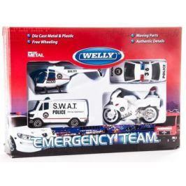 Игровой набор Welly Служба спасения - полиция белый 4 шт 98630-4G (A)