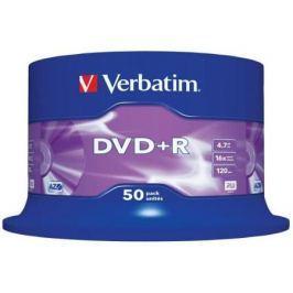 Диски DVD+R 4.7Gb Verbatim 16x 50 шт Cake Box <43550>