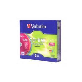 Диски CD-RW Verbatim 700Mb 12x SlimCase 5шт Color 43167