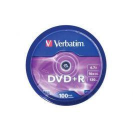 Диски DVD+R 4.7Gb Verbatim 16x 100 шт Cake Box <43551>