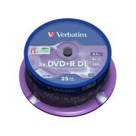Диски DVD+R 8.5Gb Verbatim 8x 25 шт Cake box Dual Layer (43757)