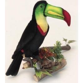 Мягкая игрушка утенок Hansa Тукан искусственный мех синтепон черный зеленый желтый красный 33 см 6408