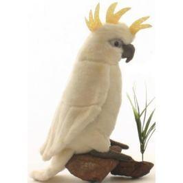 Мягкая игрушка попугай Hansa Большой белохохлый какаду искусственный мех белый 22 см 3916
