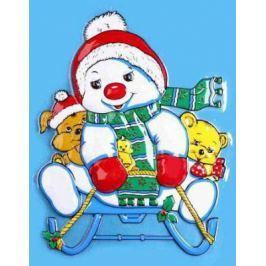 """Новогоднее панно Winter Wings """"Снеговик на санках"""" 46х36 см N09152"""