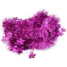 Мишура одноцветная со СНЕЖИНКАМИ, розовая, блестящая, 60/100 мм, длина 2 м