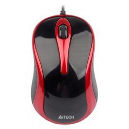 Мышь проводная A4TECH N-360-2 красный чёрный USB