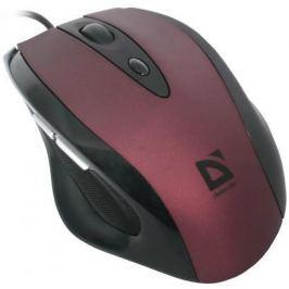 Мышь проводная DEFENDER Opera 880 чёрный бордовый USB 52832