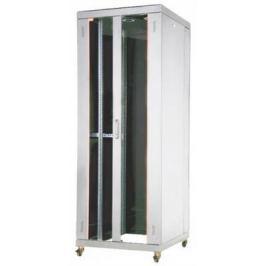 """Шкаф напольный 19"""" 32U Estap EUROline EU32U88GF1R2 800x800mm передняя дверь двустворчатая стекло с металлической рамой слева и справа задняя дверь одностворчатая сплошная металлическая серый"""