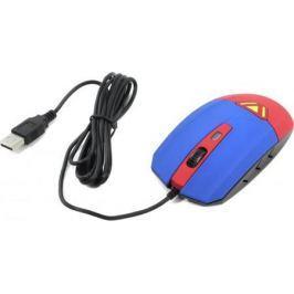 Мышь проводная CBR CM-833 Superman синий красный USB