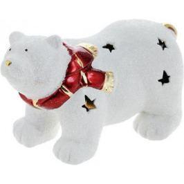 Подсвечник Winter Wings Мишка полярный в шарфе, керамика, светящийся 16 см N161689