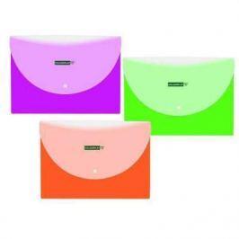 Папка-конверт COLOURPLAY с кнопкой, горизонтальная, ф. А4, 2 отделения, ассорти, 5 цветов, 180мкм IPF320 IPF320