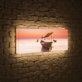 Лайтбокс панорамный Лодка 45x135-p023